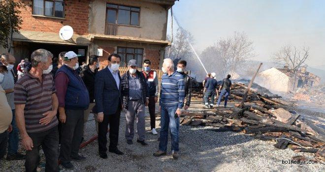 Vali Ümit, Kuzfındık Köyü'ndeki Yangın Bölgesinde İncelemelerde Bulundu